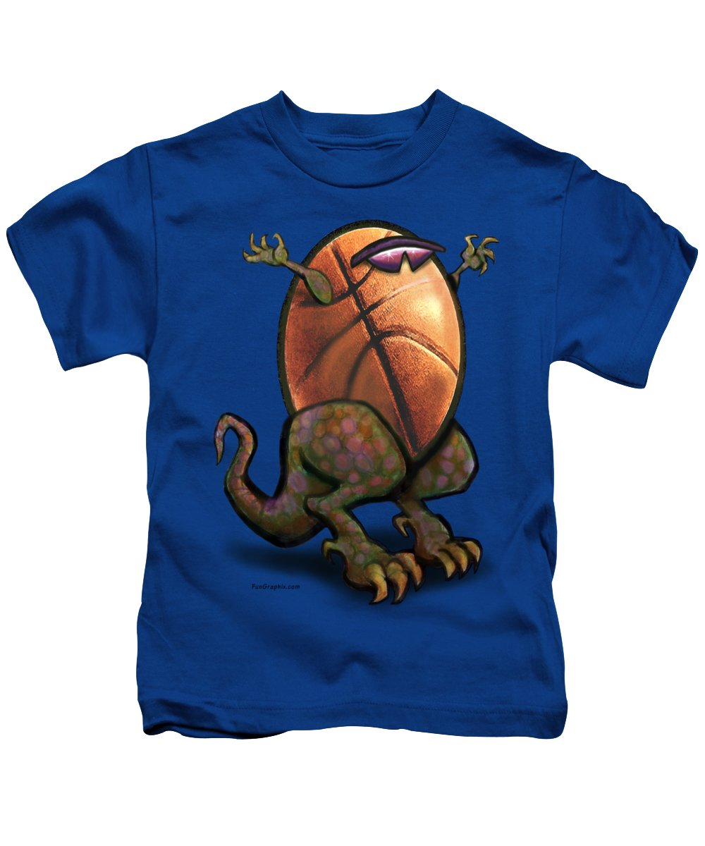 Basketball Kids T-Shirt featuring the digital art Basketball Saurus Rex by Kevin Middleton