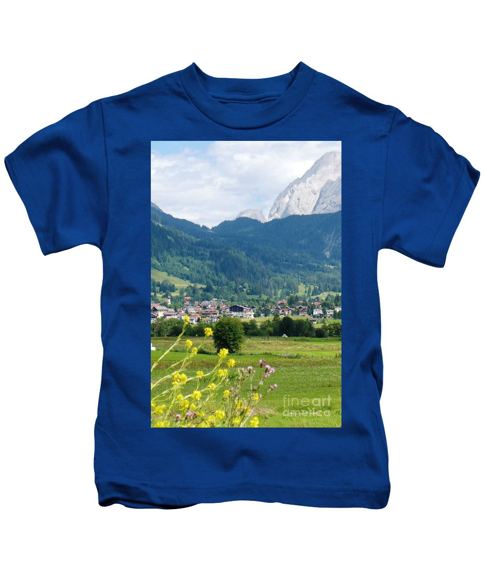 Bavaria Kids T-Shirt featuring the photograph Bavarian Alps With Village And Flowers by Carol Groenen