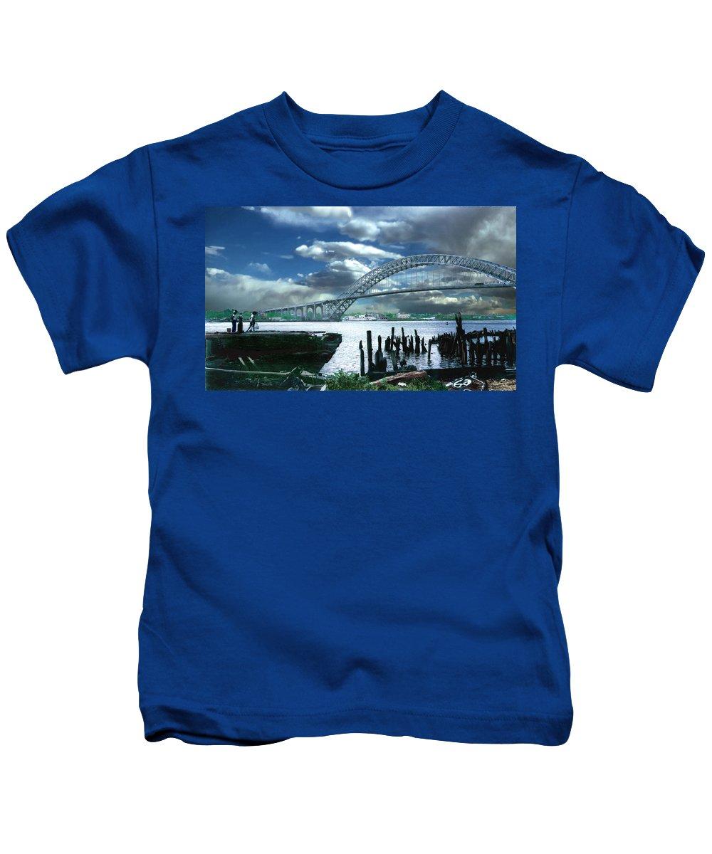 Seascape Kids T-Shirt featuring the photograph Bayonne Bridge by Steve Karol