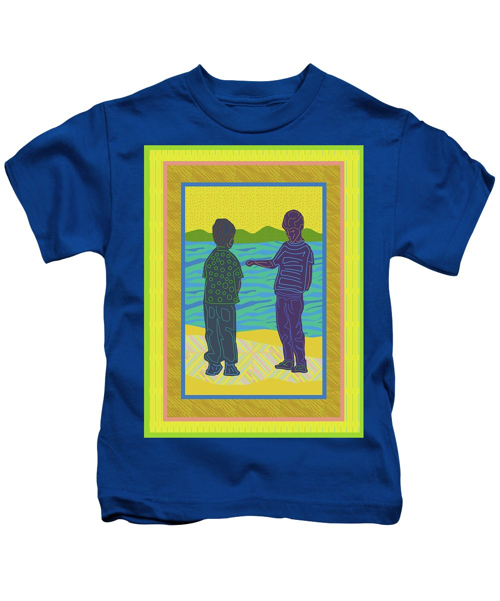 Young Boys At The Beach Kids T-Shirt featuring the digital art Beach Boys by Rod Whyte