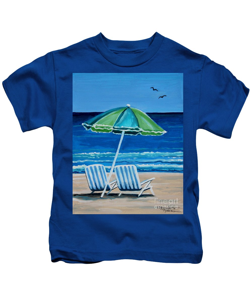 Beach Kids T-Shirt featuring the painting Beach Chair Bliss by Elizabeth Robinette Tyndall