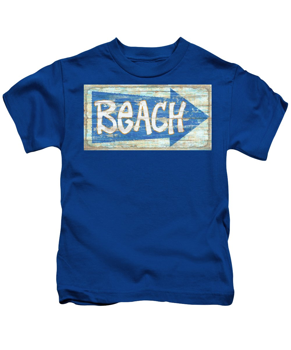 Jq Licensing Kids T-Shirt featuring the painting Beach Sign by James Piazza