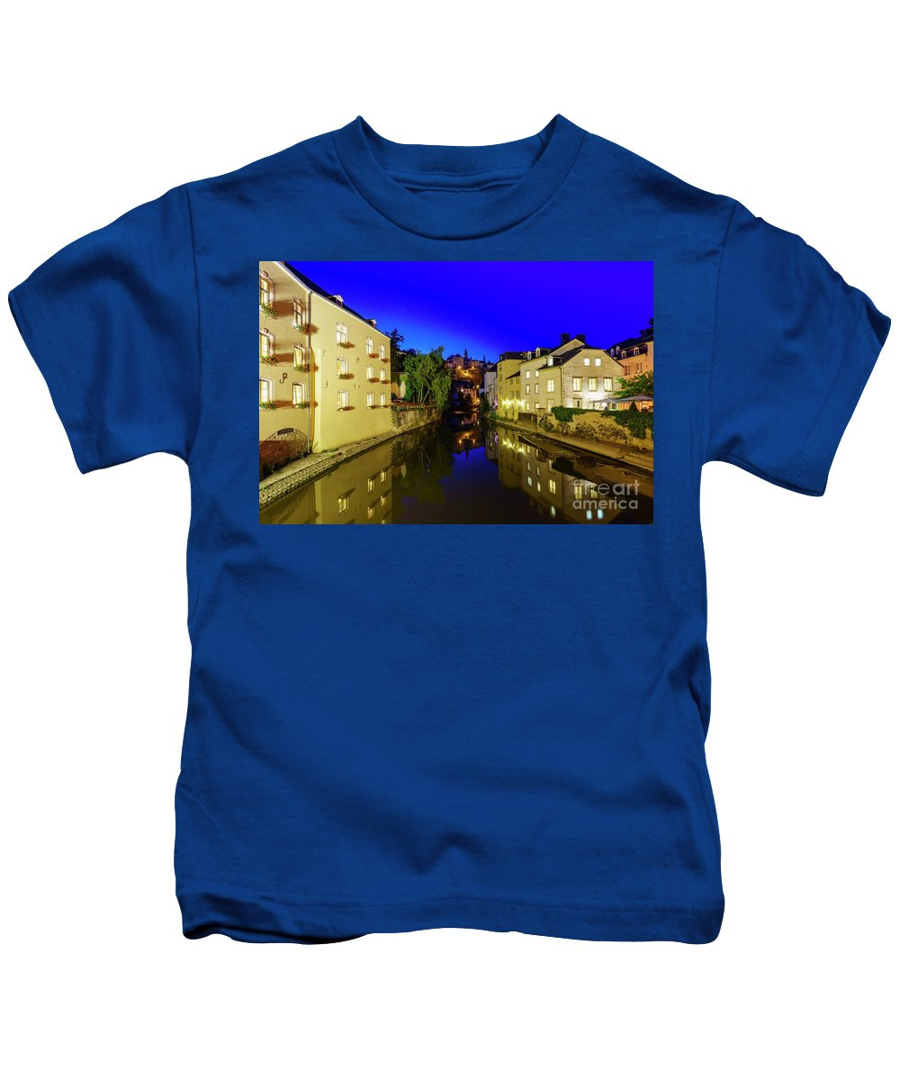Alzette Kids T-Shirt featuring the photograph Beautiful Alzette River Side Scene On Road Rue Munster by Chon Kit Leong