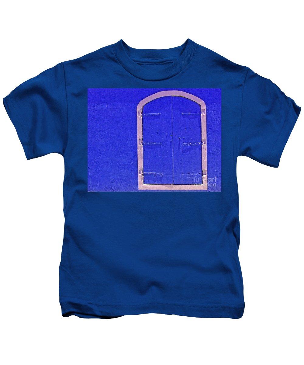 Door Kids T-Shirt featuring the photograph Behind The Blue Door by Debbi Granruth
