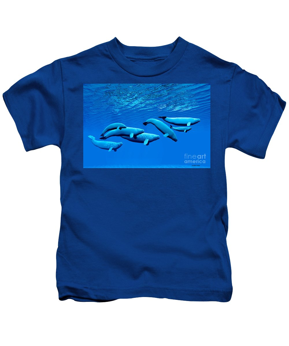 Beluga Whale Kids T-Shirt featuring the painting Beluga Whale Pod by Corey Ford