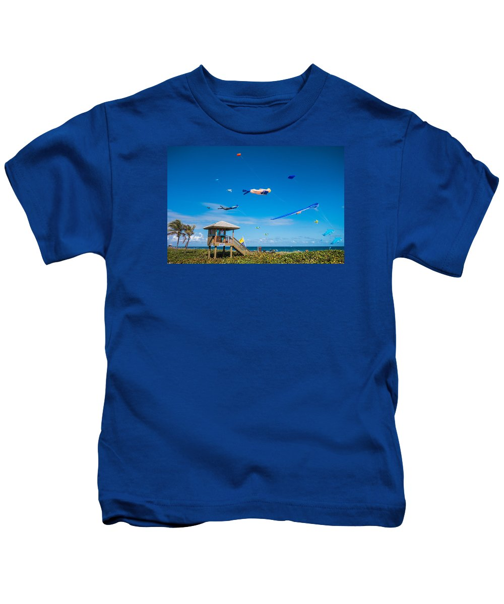 Florida Kids T-Shirt featuring the photograph Big Kites Delray Beach by Lawrence S Richardson Jr