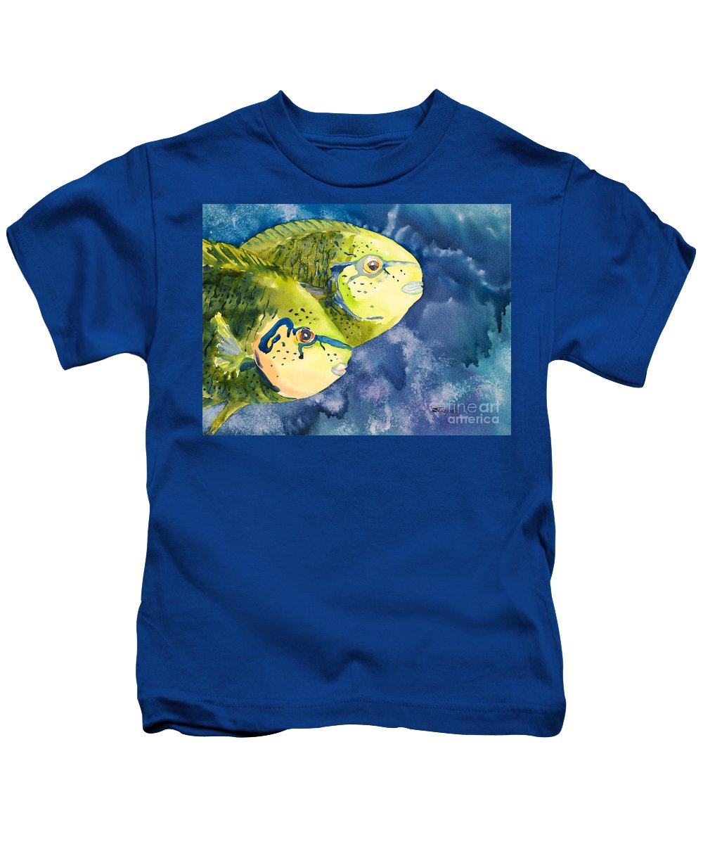 Animal Art Kids T-Shirt featuring the painting Bignose Unicornfish by Tanya L Haynes - Printscapes