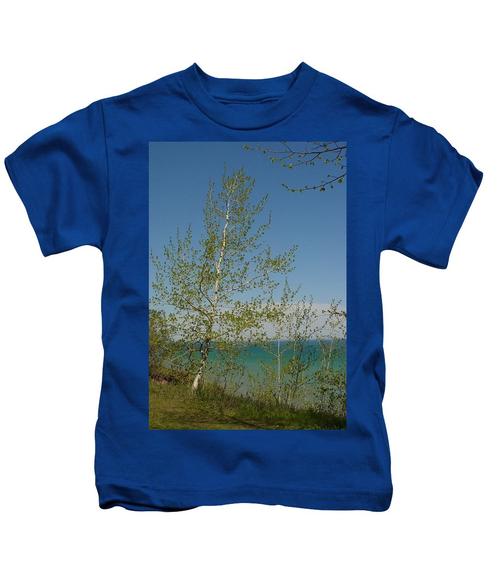 Birch Tree Kids T-Shirt featuring the photograph Birch Tree Over Lake by Anita Burgermeister