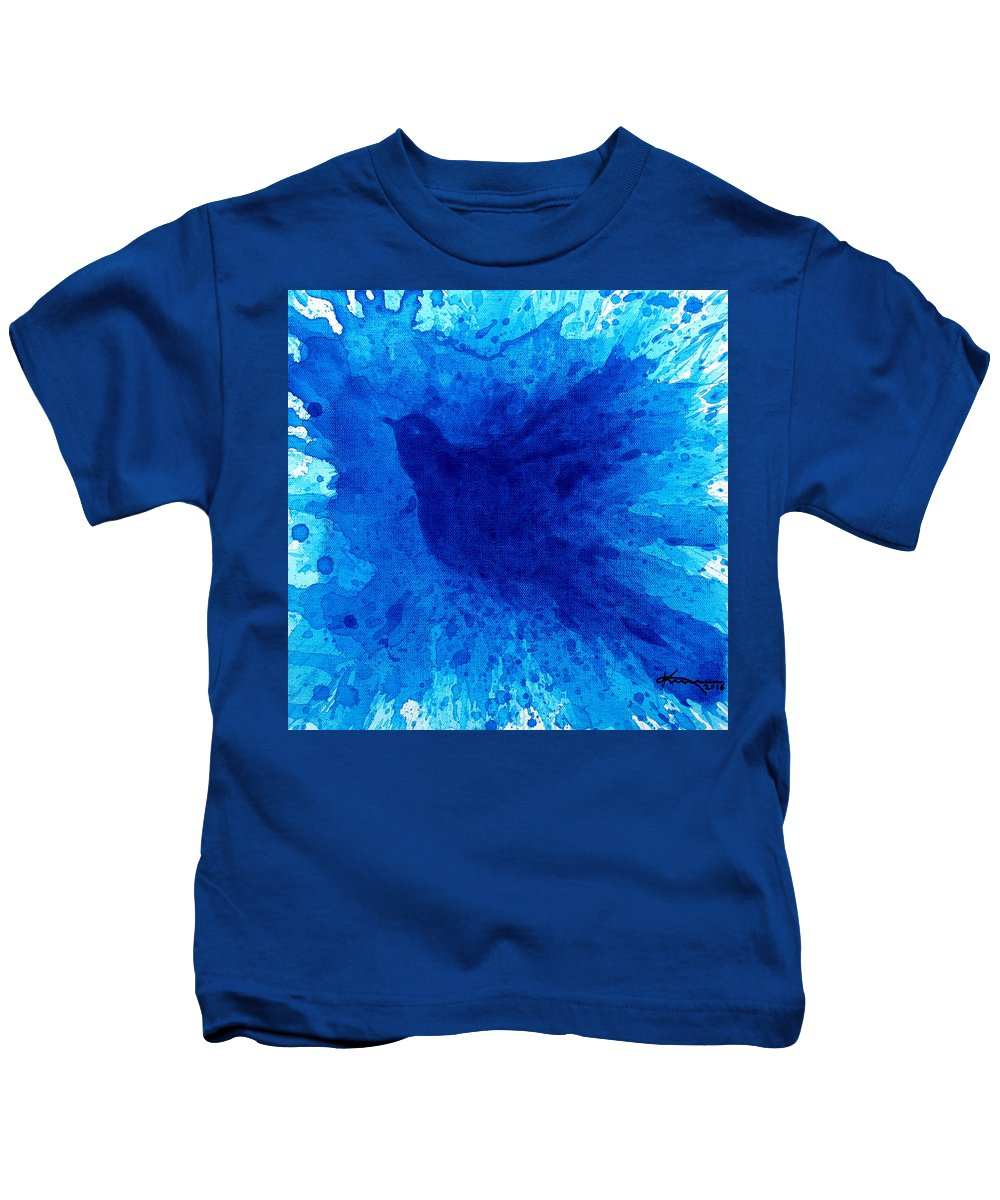 Bath Kids T-Shirt featuring the painting Bird Bath 2 by Kume Bryant