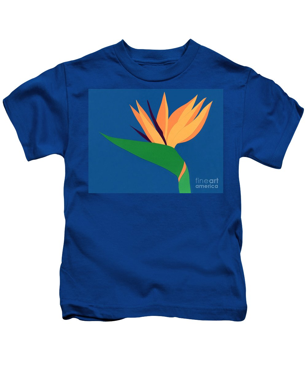 Nature Kids T-Shirt featuring the drawing Bird Of Paradise by Lucyna A M Green