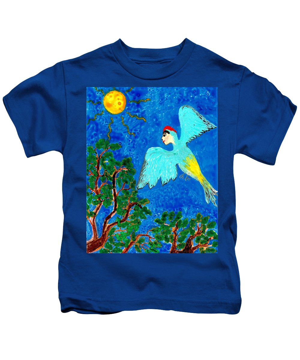 Bird People Kids T-Shirt featuring the painting Bird People Green Woodpecker by Sushila Burgess