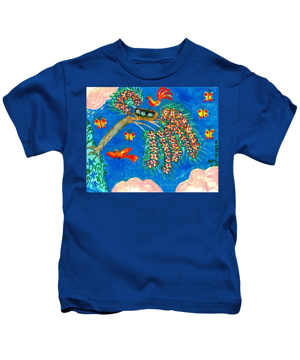 Sue Burgess Kids T-Shirt featuring the painting Birds And Nest In Flowering Tree by Sushila Burgess