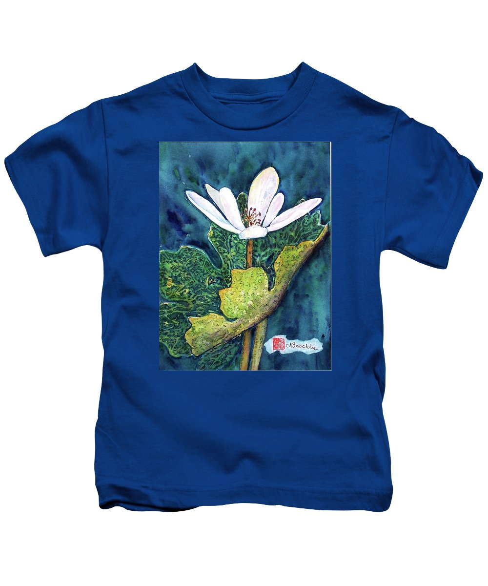White Flower Kids T-Shirt featuring the painting Blood Root by Norma Boeckler