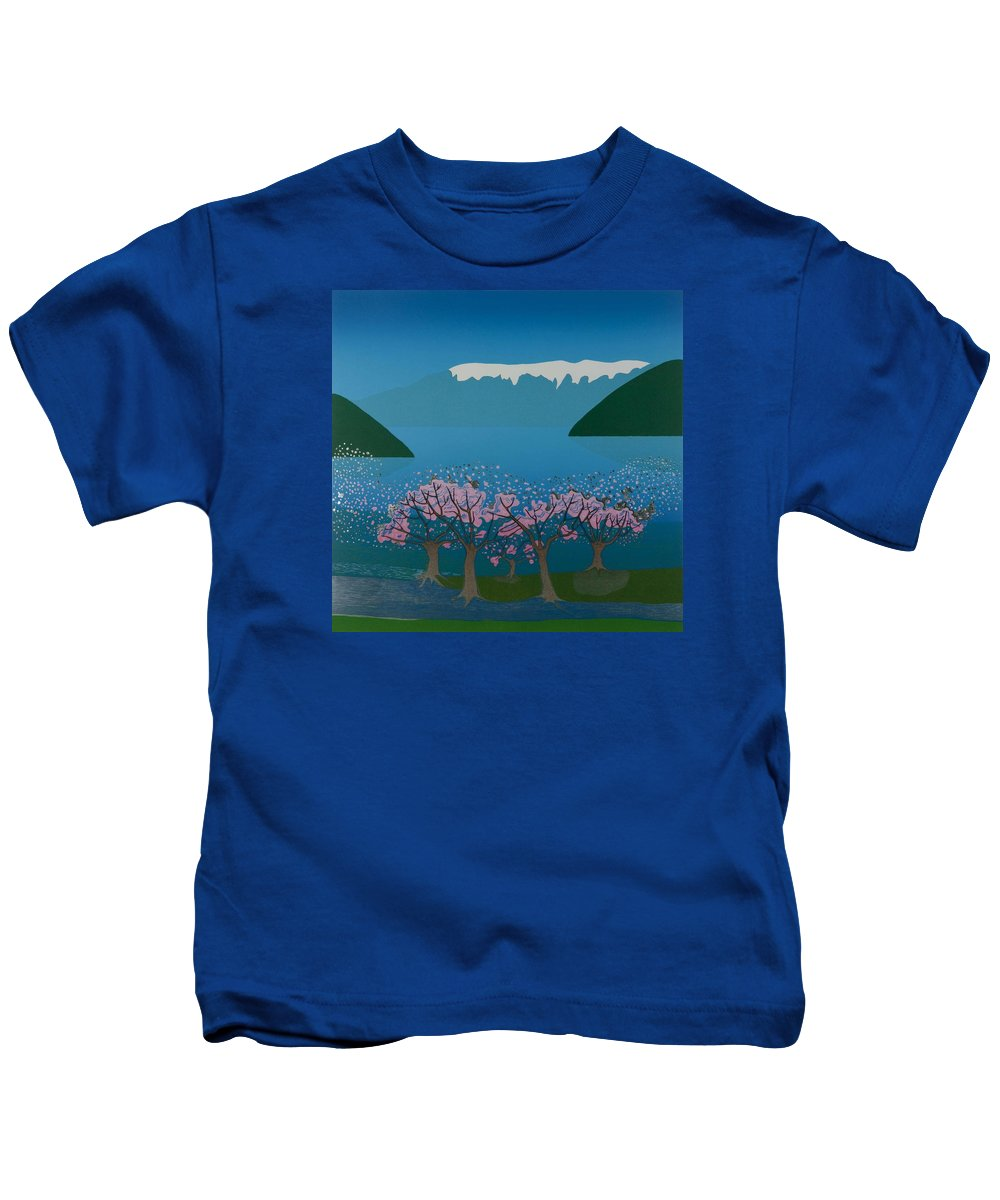 Landscape Kids T-Shirt featuring the mixed media Blossom in the Hardanger fjord by Jarle Rosseland