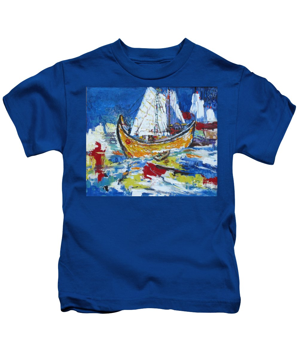 Boat Kids T-Shirt featuring the painting Blue And White by Guanyu Shi