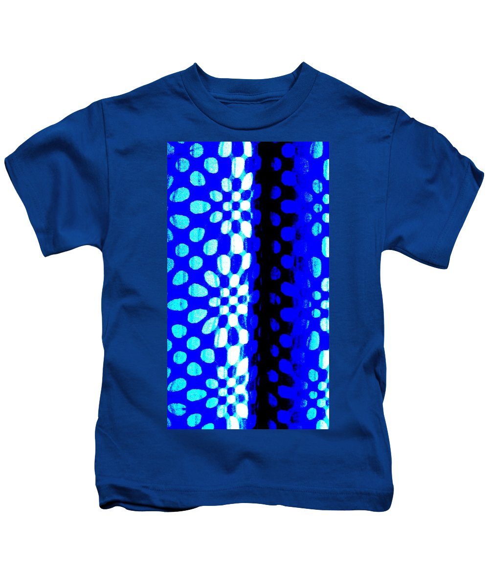 Fantasy Kids T-Shirt featuring the painting Blue Black Pattern Abstract by Eric Schiabor
