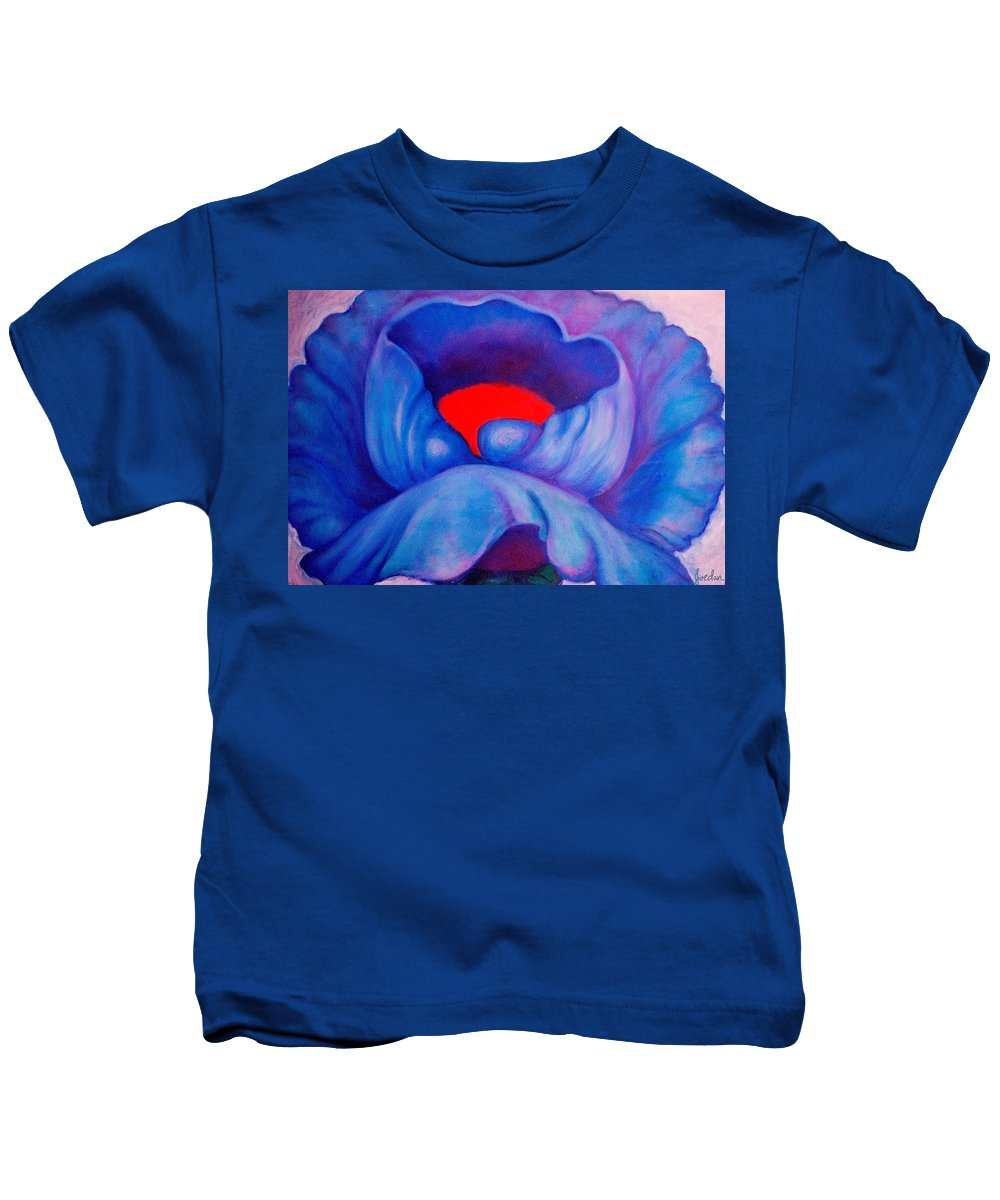 Blue Bloom Kids T-Shirt featuring the painting Blue Bloom by Jordana Sands