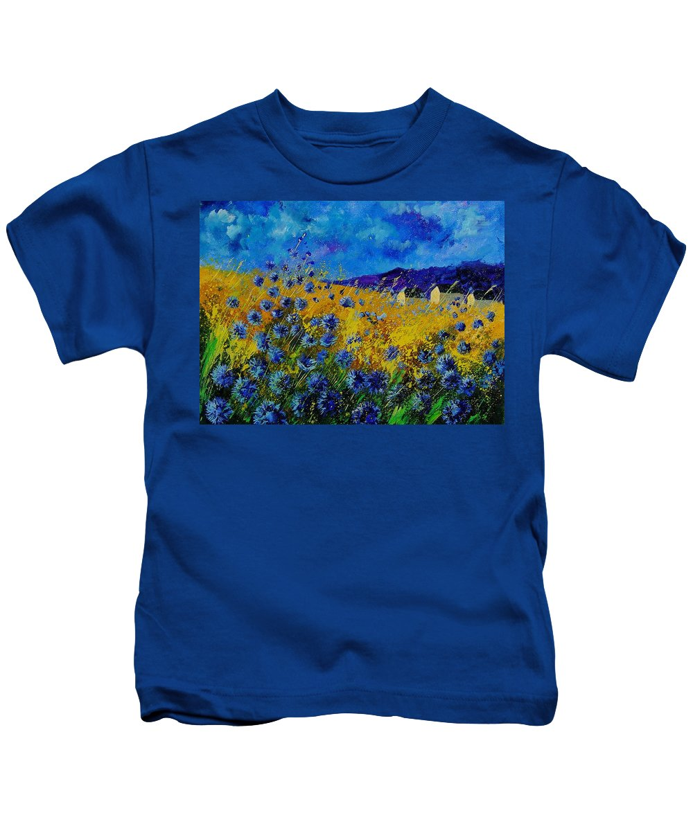 Poppies Kids T-Shirt featuring the painting Blue Cornflowers by Pol Ledent