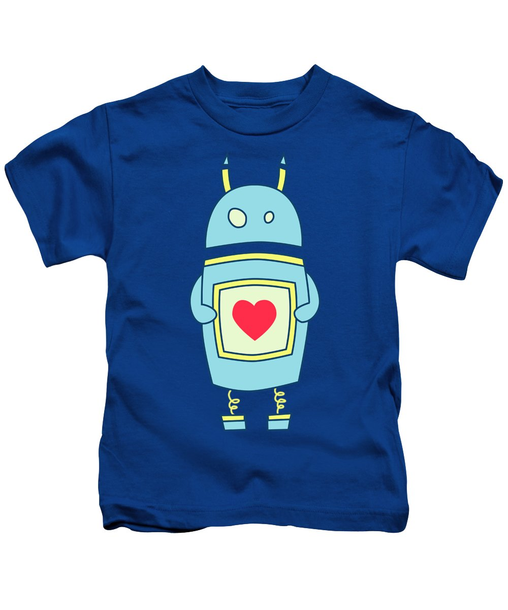 8ecacdb4a Blue Cute Clumsy Robot With Heart Kids T-Shirt for Sale by Boriana Giormova