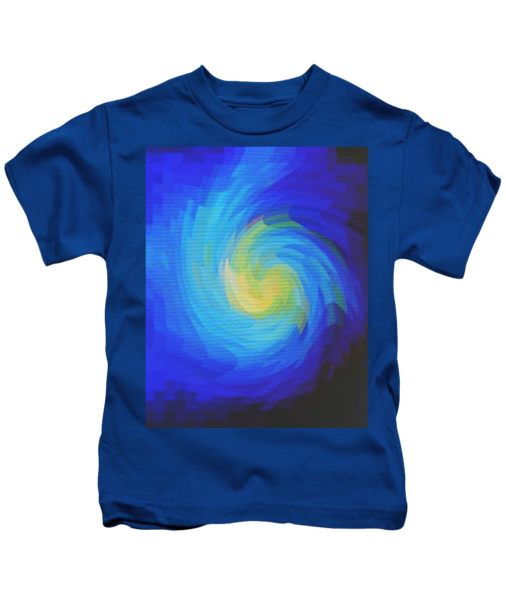 Blue Kids T-Shirt featuring the digital art Blue Galaxy by Ian MacDonald