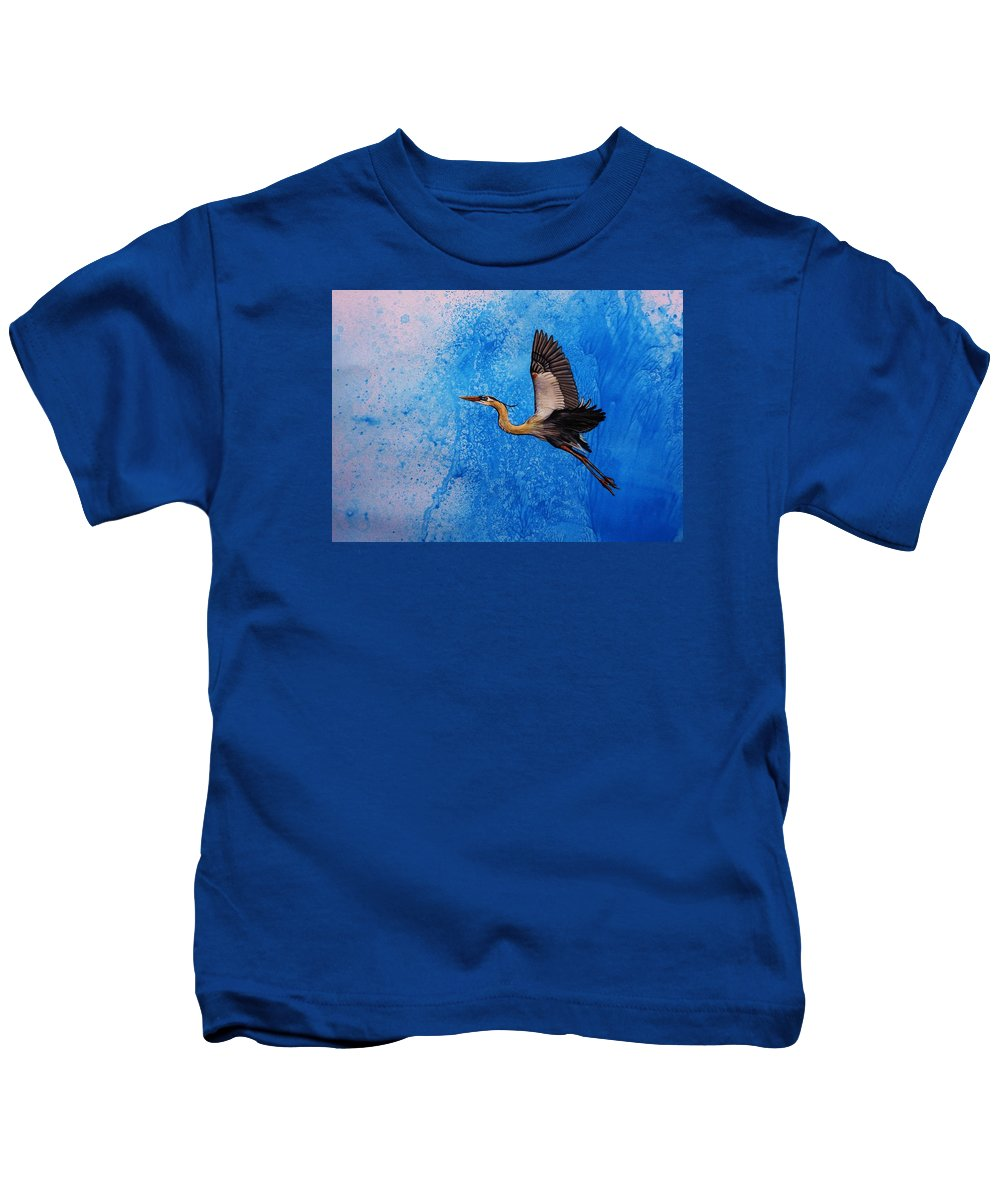 Great Blue Heron Kids T-Shirt featuring the painting Blue Heron by Lucy Deane
