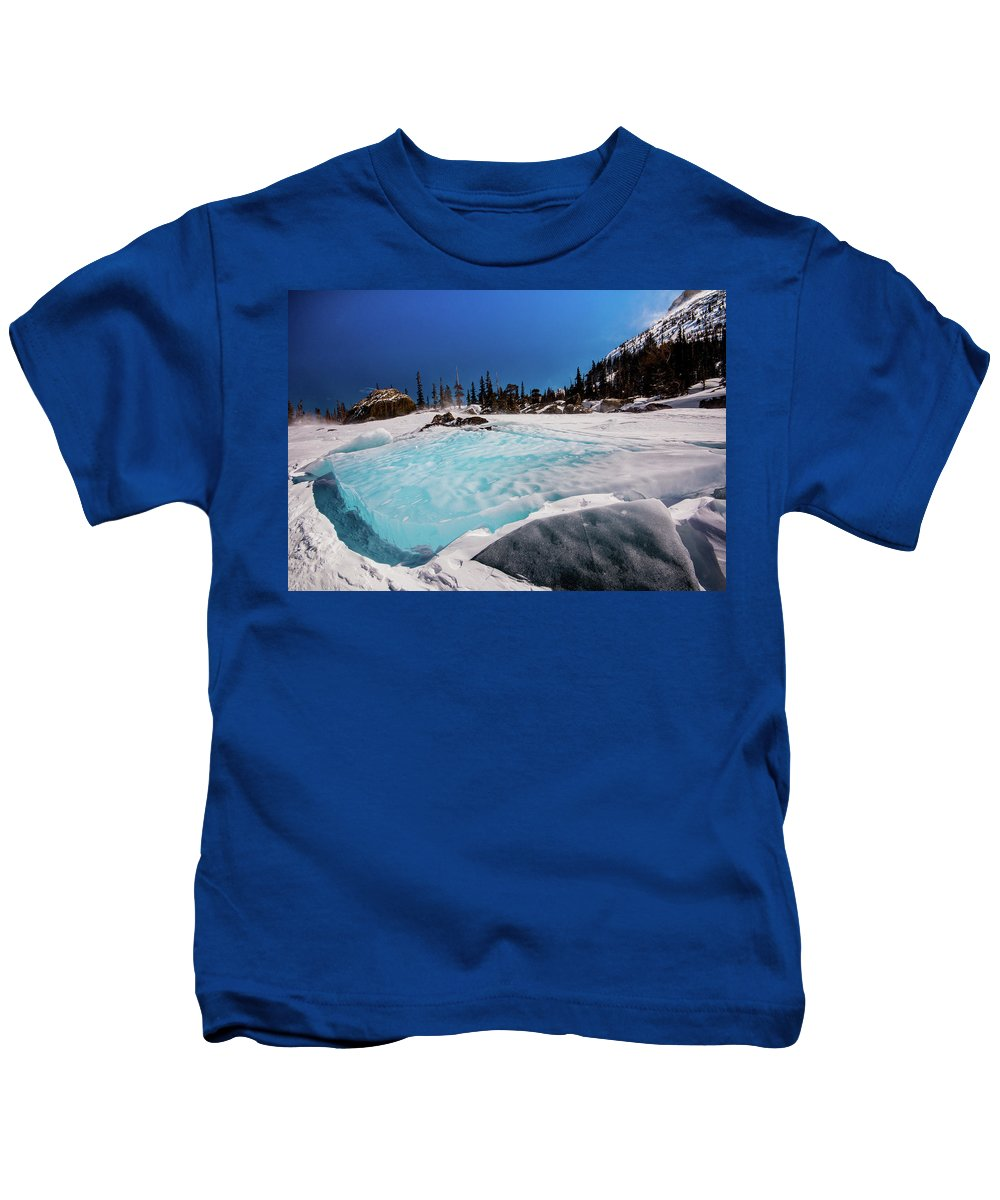 Landscape Kids T-Shirt featuring the photograph Blue Ice Sheet - Lake Hiayaha by Rob Lantz