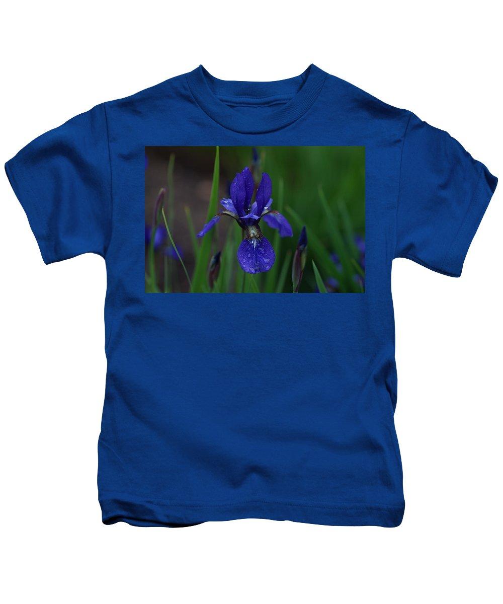 Blue Kids T-Shirt featuring the photograph Blue Iris Petal by Carrie Goeringer