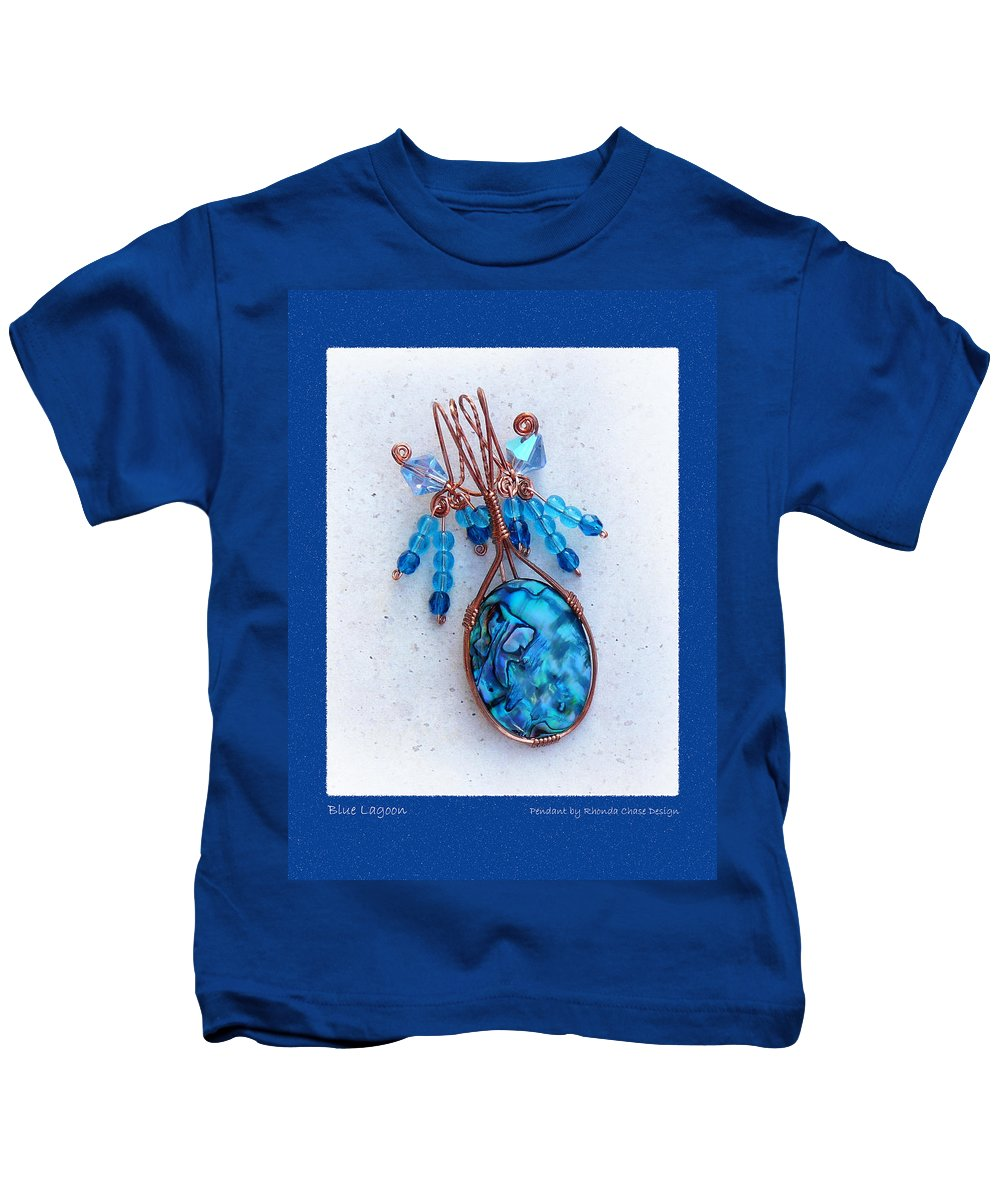 Pendant Kids T-Shirt featuring the mixed media Blue Lagoon by Rhonda Chase