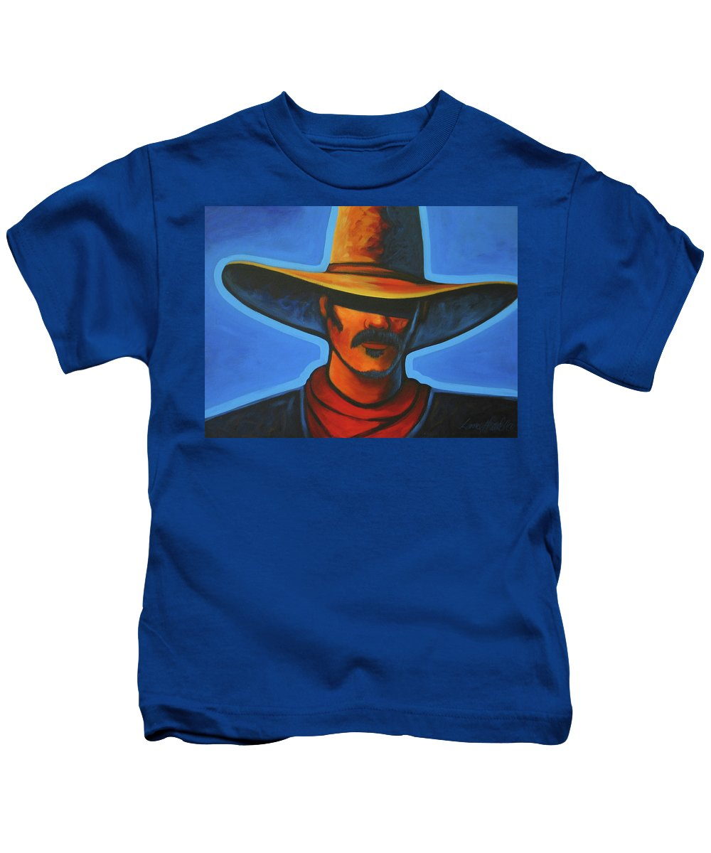 Colorful Cowboy Kids T-Shirt featuring the painting Blue by Lance Headlee