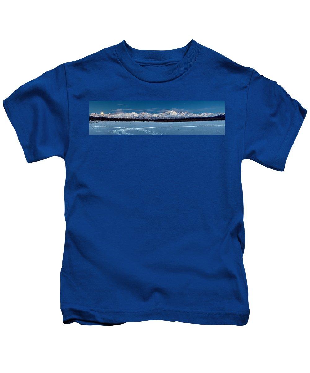 Alaska Landscape Kids T-Shirt featuring the photograph Blue Moon by Ed Boudreau