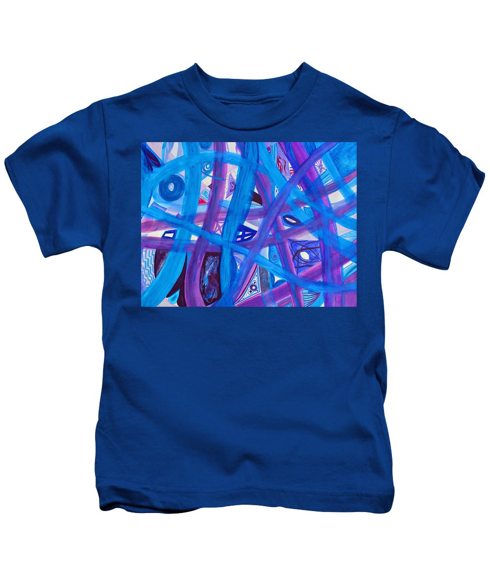 Abstract Kids T-Shirt featuring the painting Blue Purple Paths by Lee Serenethos