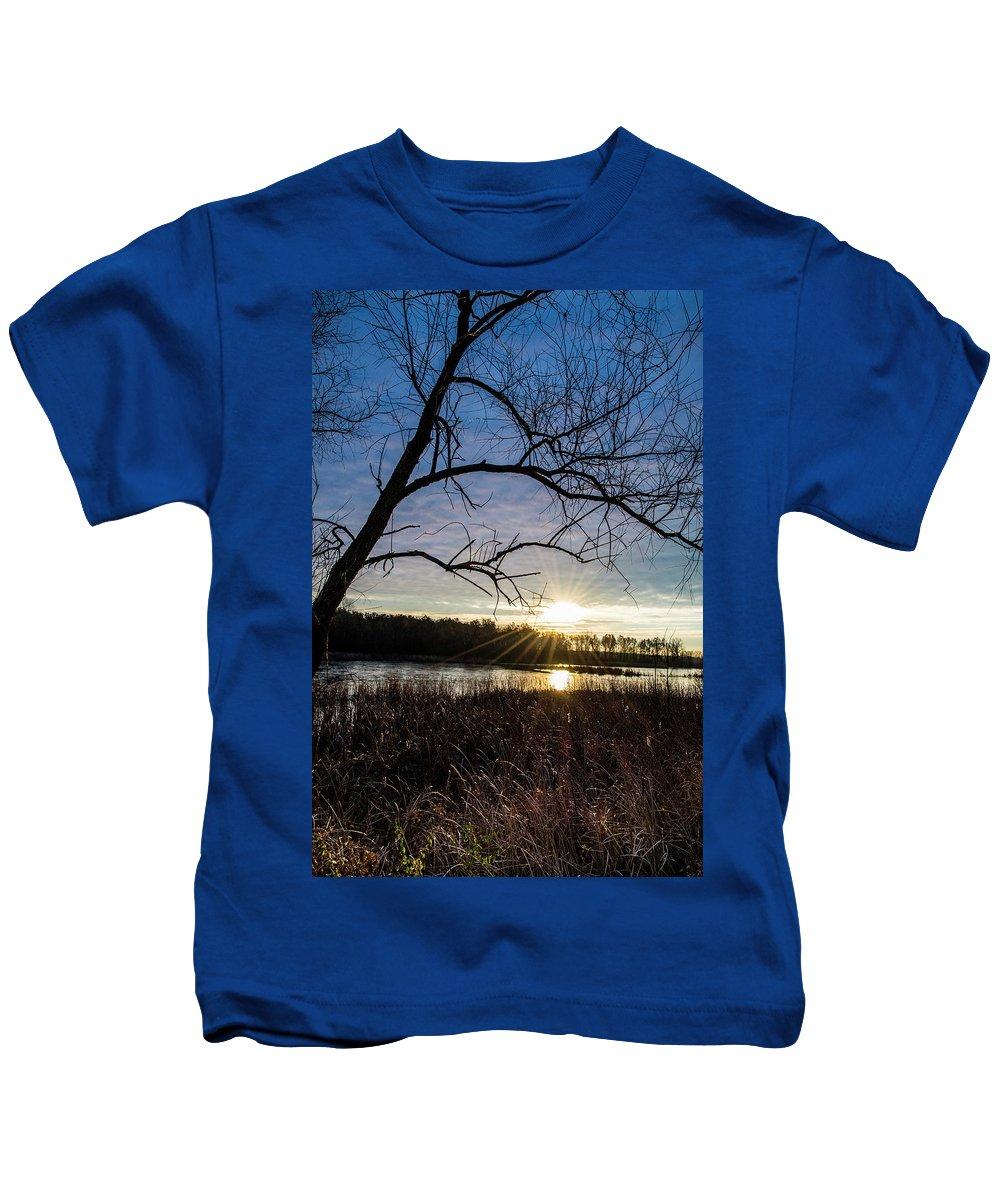 Sunrise Kids T-Shirt featuring the photograph Blue Sky Sunrise On The Marsh by Angela Mocniak