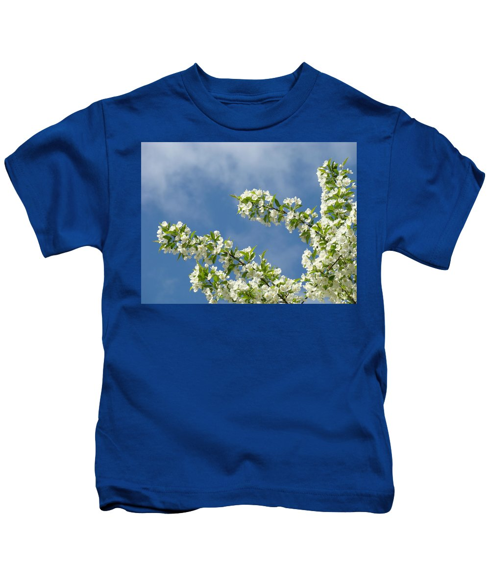 Blossom Kids T-Shirt featuring the photograph Blue Sky White Clouds Landscape Art White Tree Blossoms Spring by Baslee Troutman