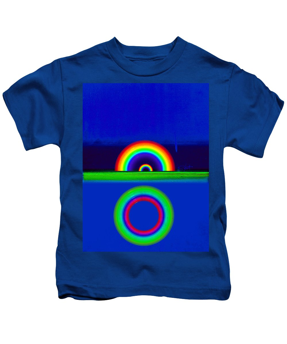Rainbow Kids T-Shirt featuring the painting Blue Sunset by Charles Stuart