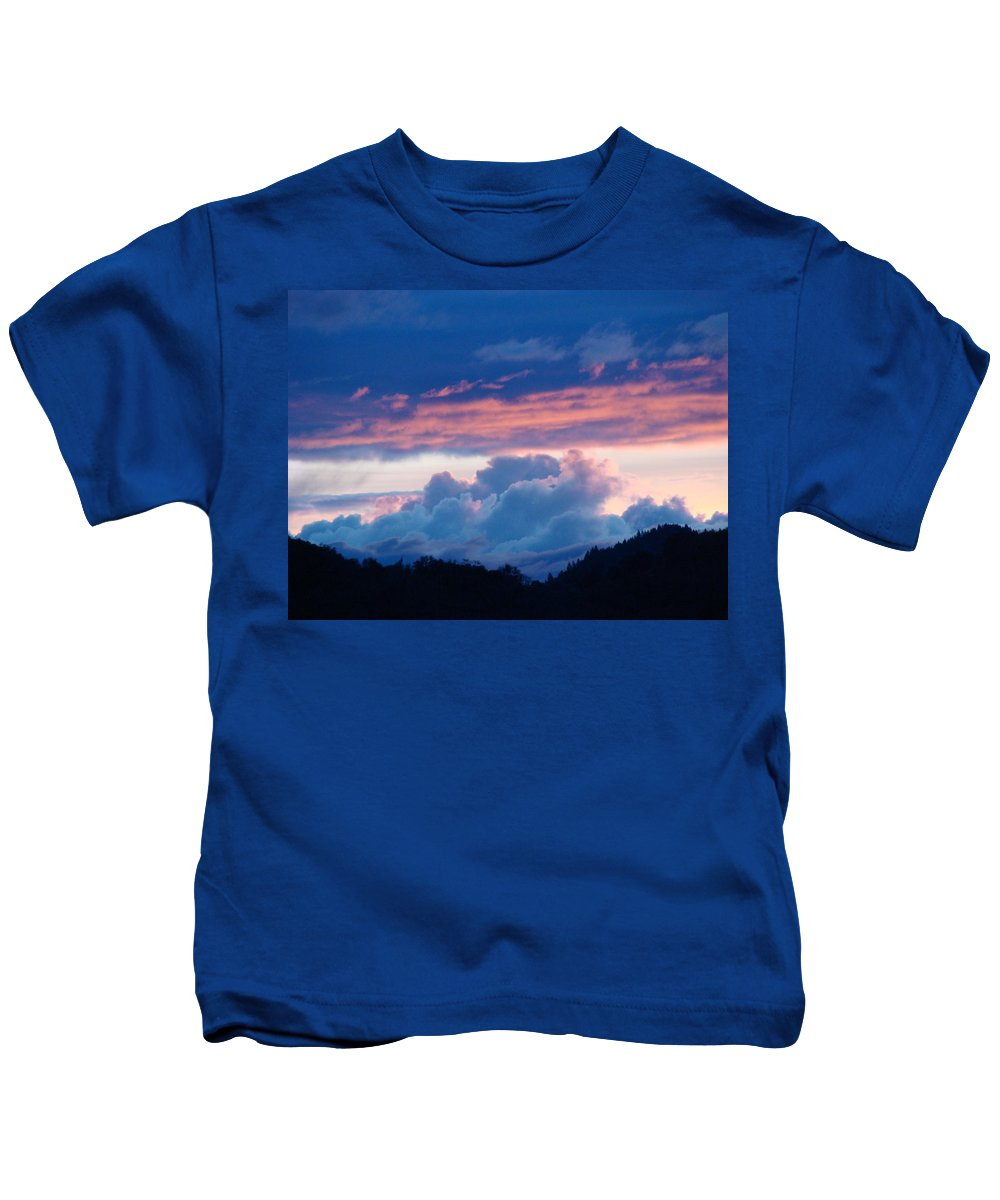 Sunset Kids T-Shirt featuring the photograph Blue Twilight Clouds Art Prints Mountain Pink Sunset Baslee Troutman by Baslee Troutman