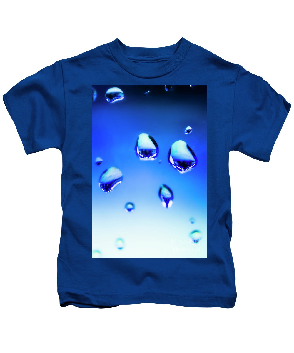 Water Kids T-Shirt featuring the photograph Blue Water Droplets On Glass by Jorgo Photography - Wall Art Gallery