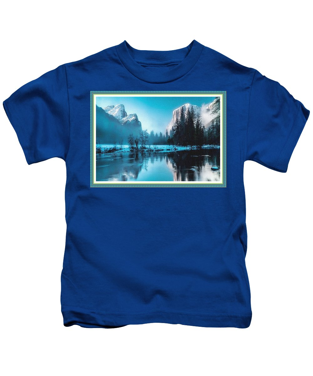 Rural Kids T-Shirt featuring the painting Blue Winter Fantasy. L B With Decorative Ornate Printed Frame. by Gert J Rheeders