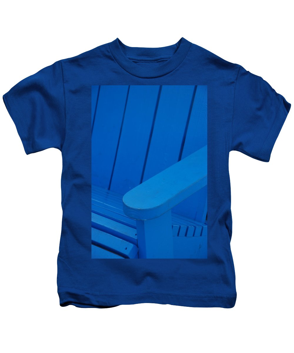 Macro Kids T-Shirt featuring the photograph Blue Wood by Rob Hans