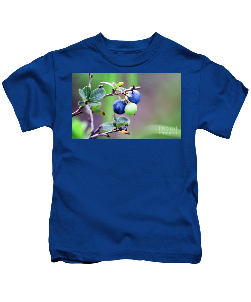 Blueberry Kids T-Shirt featuring the photograph Blueberry by Edward Nekrasov