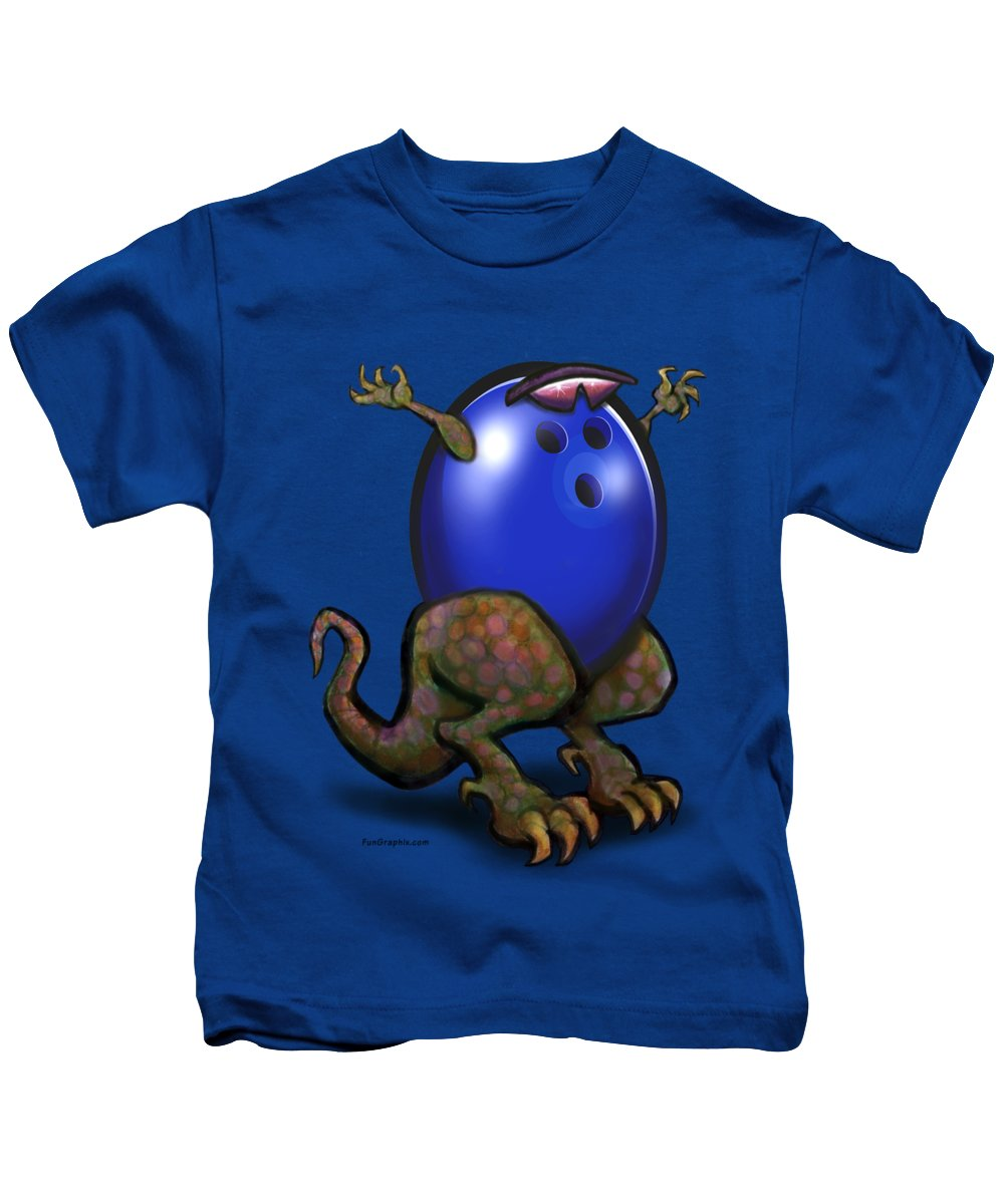 Bowl Kids T-Shirt featuring the digital art Bowling Beast by Kevin Middleton