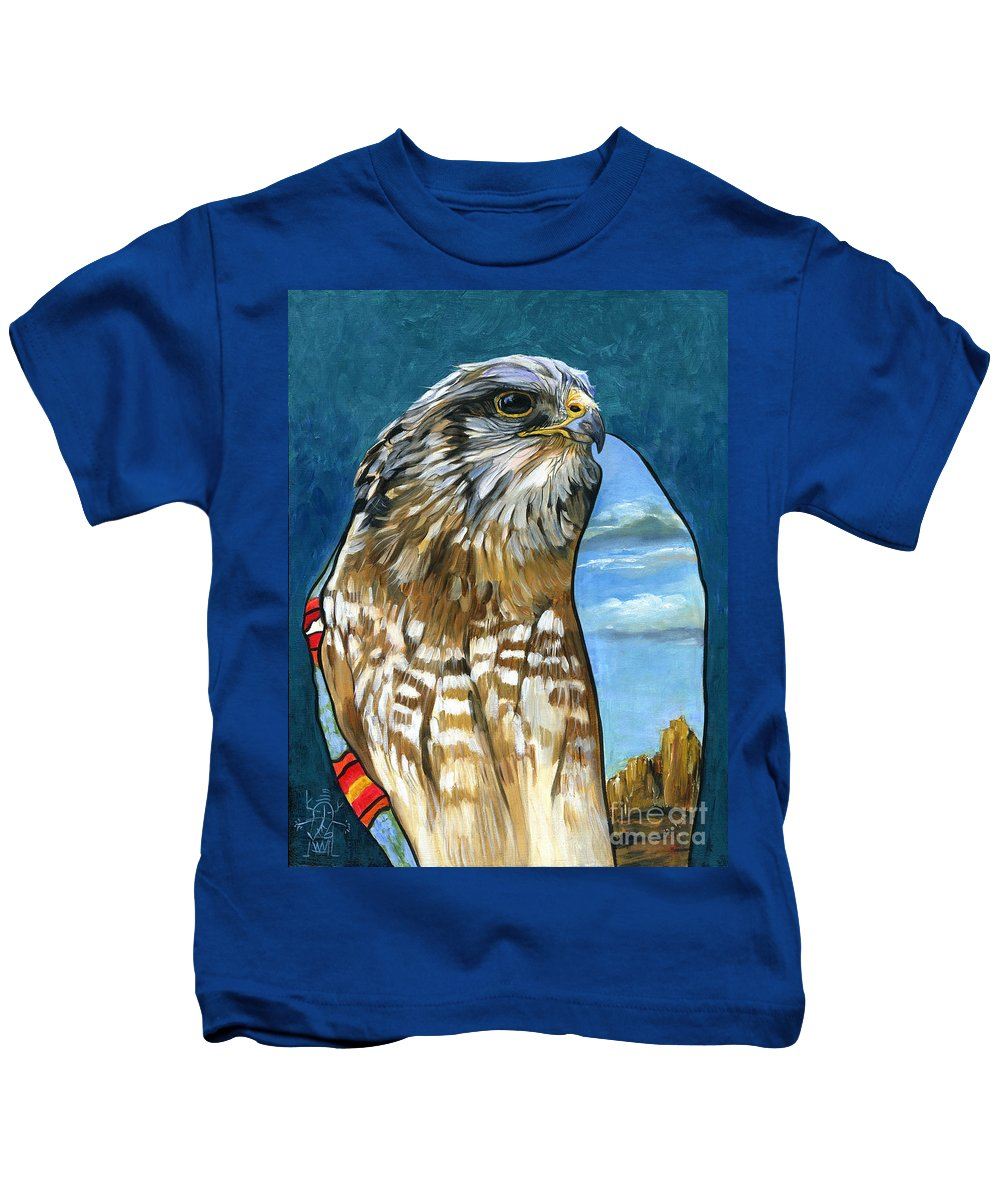 Hawk Kids T-Shirt featuring the painting Brother Hawk by J W Baker