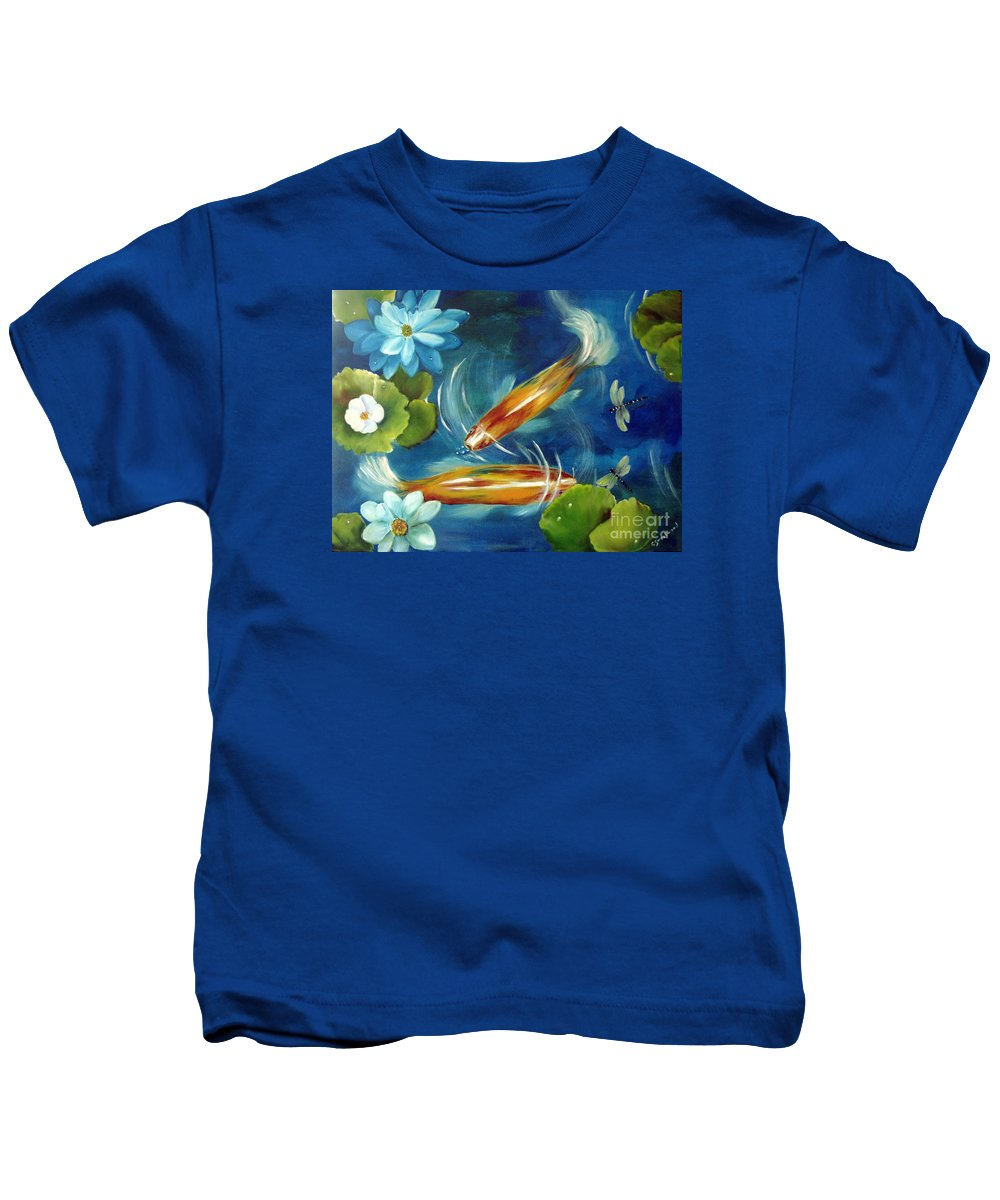Koi Kids T-Shirt featuring the painting Bubble Maker by Carol Sweetwood