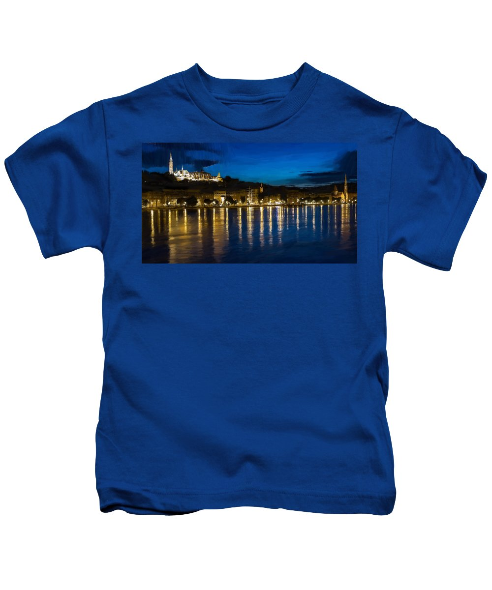 River Kids T-Shirt featuring the painting Budapest - Id 16236-105006-5202 by S Lurk