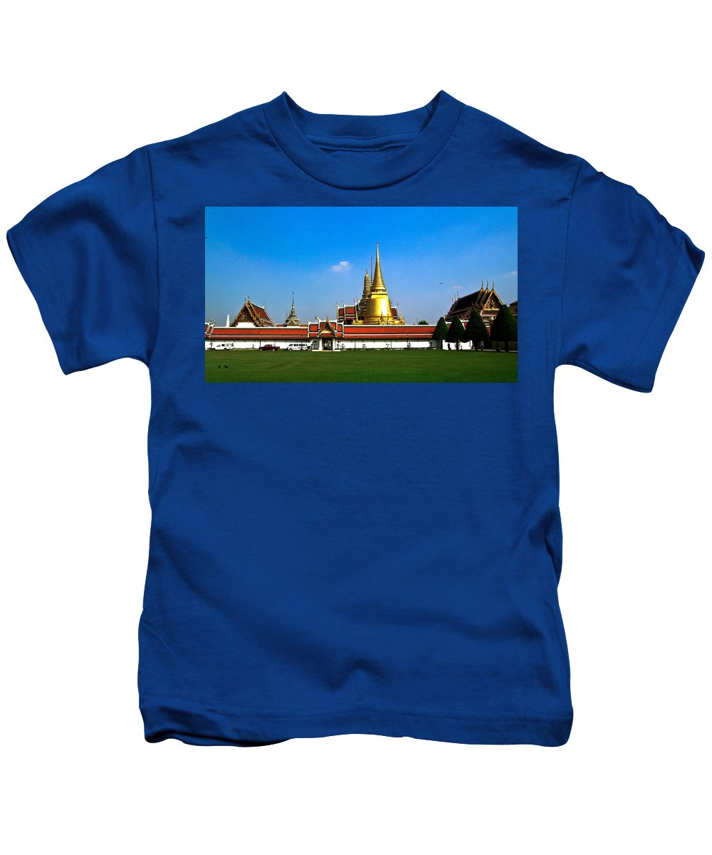 Buddha Kids T-Shirt featuring the photograph Buddhaist Temple by Douglas Barnett