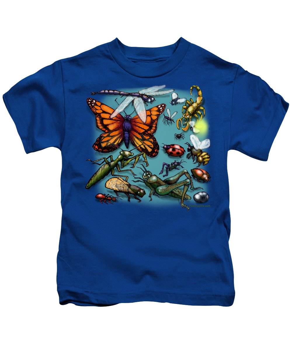 Bug Kids T-Shirt featuring the painting Bugs by Kevin Middleton