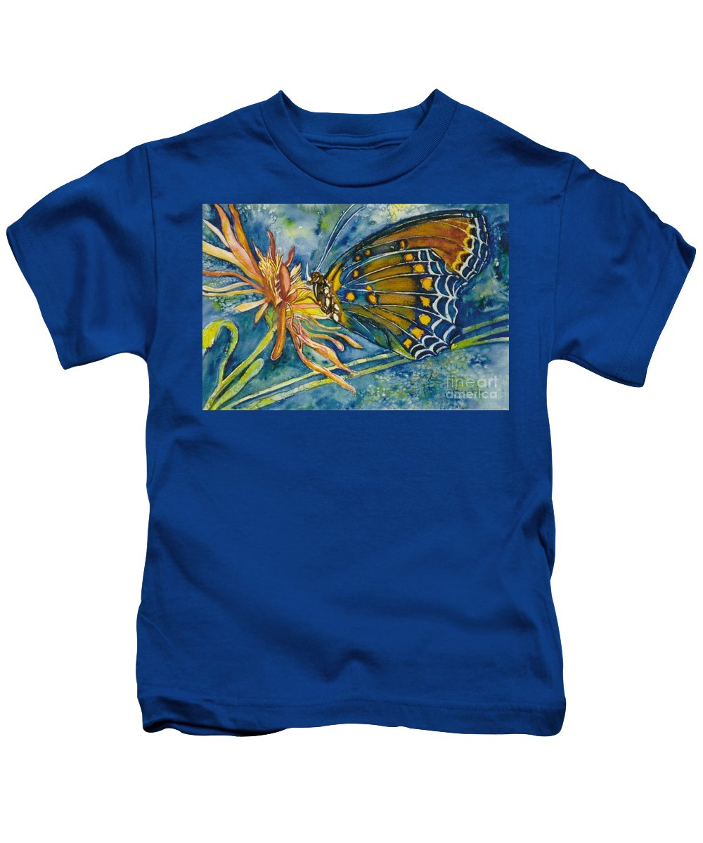 Butterflies Kids T-Shirt featuring the painting Butterfly In Ca by Norma Boeckler