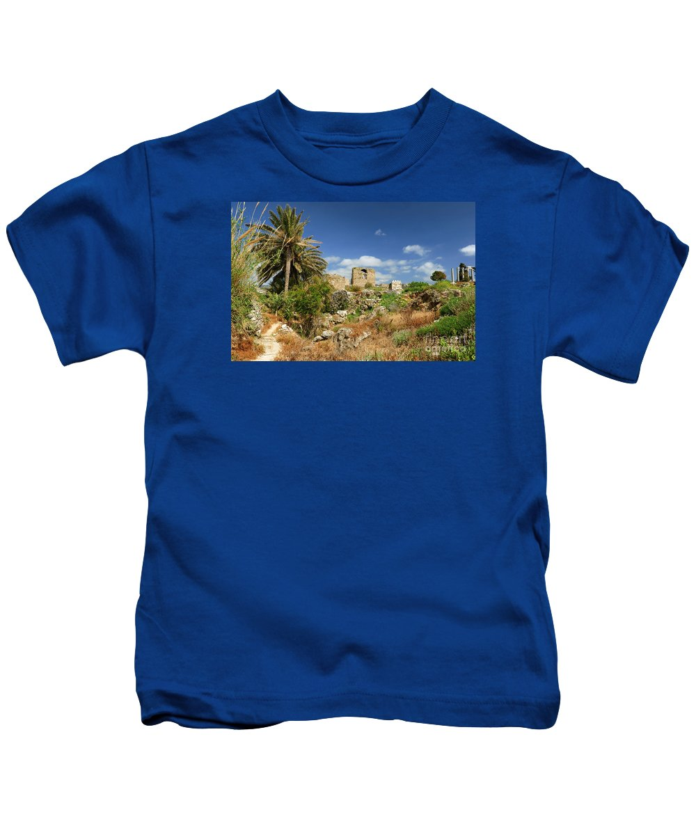 Byblos Kids T-Shirt featuring the photograph Byblos Castle, Lebanon by Ivan Batinic