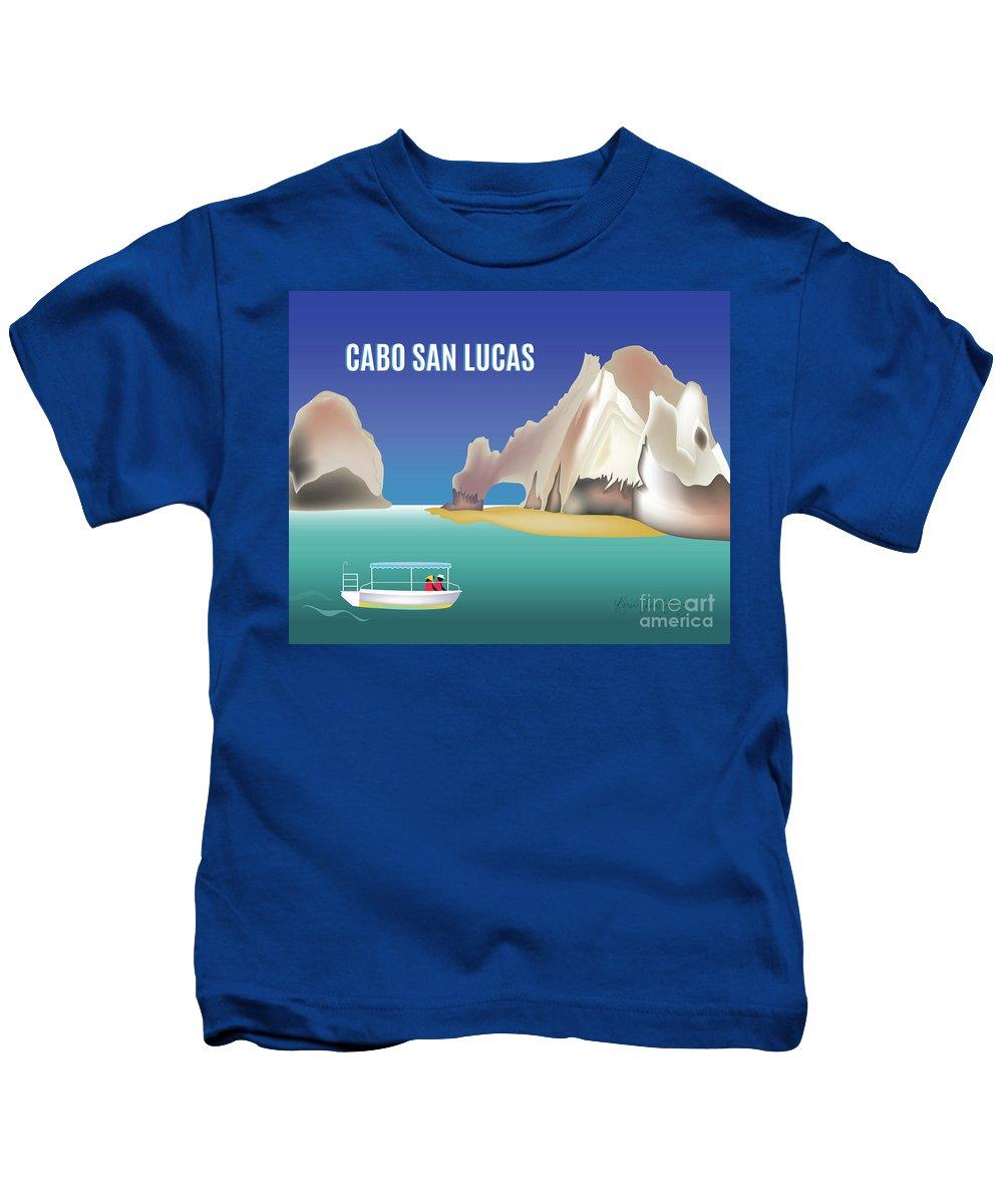 Cabo San Lucas Kids T-Shirt featuring the digital art Cabo San Lucas Mexico Horizontal Scene by Karen Young