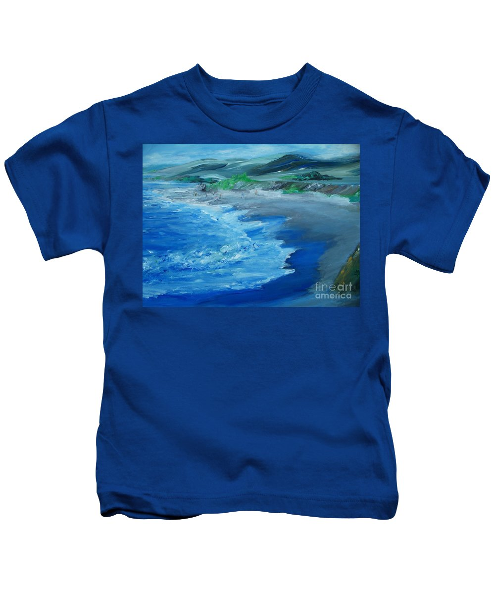 California Coast Kids T-Shirt featuring the painting California Coastline Impressionism by Eric Schiabor