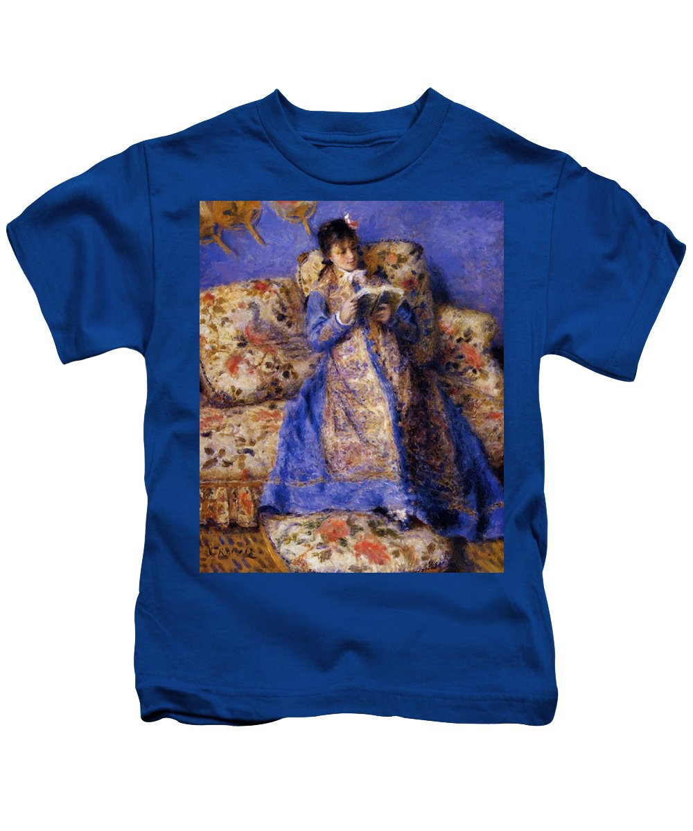 Camille Kids T-Shirt featuring the painting Camille Monet Reading 1872 by Renoir PierreAuguste